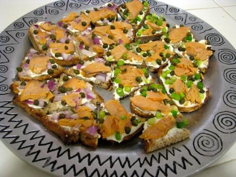 Salmon on Toast Points