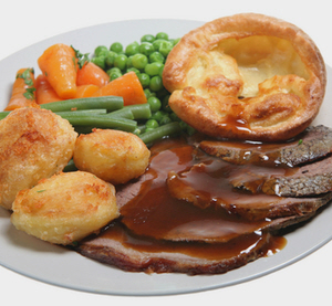 roast beef and yorkshire pudding the traditional british