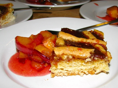 Peach Torte with Flambeed Peaches
