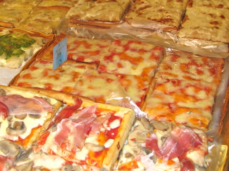 Racks of Hot Focaccia Bread