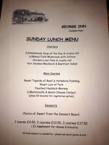 Sunday Lunch Menu The George Inn - Coleorton
