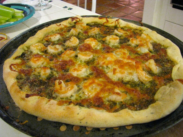 Pizza - Thin Crust - Pesto and Shrimp